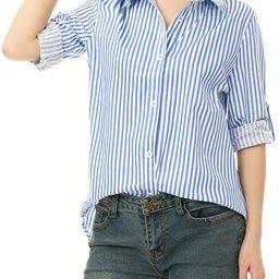 Allegra K Women's Vertical Stripes Button Down Roll-up Long Sleeves Lapel Collar Shirt | Amazon (US)