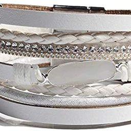 Leather Wrap Bracelet for Women - Handmade Wrap Clasp Bangle Bracelet with Crystal Wristbands Jew... | Amazon (US)