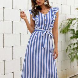 Vertical Striped Ruffle Trim Belted Dress | SHEIN