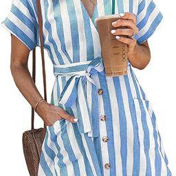 Womens Fashion Stripe Short Sleeve Wrap V-Neck Casual Summer Button Front Mini Short Shirt Dress | Amazon (US)