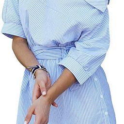 Women's Half Sleeve One Shoulder Side Split Striped Shirt Dress | Amazon (US)