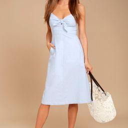Ain't No Other Light Blue Chambray Midi Dress | Lulus