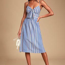 World Wonder Blue Striped Tie-Front Midi Dress | Lulus