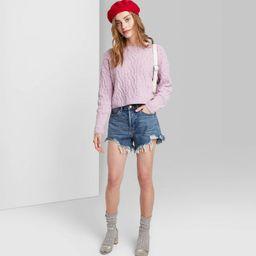 Women's High-Rise Frayed Jean Shorts - Wild Fable™ Dark Wash 00 | Target