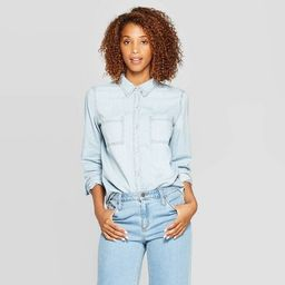 Women's Long Sleeve Collared Labette Denim Woven Shirt - Universal Thread™ Blue | Target