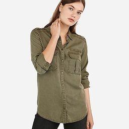 Oversized Pocket Military Boyfriend Shirt   Express