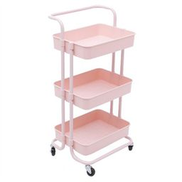 Pemberly Row 3 Tier Rolling Utility Cart with Storage in Light Pink | Target