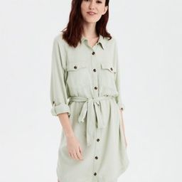 AE Long Sleeve Button Front Shirt Dress | American Eagle Outfitters (US & CA)
