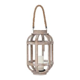 Natural Wood Lantern with Rope Handle | Kirkland's Home