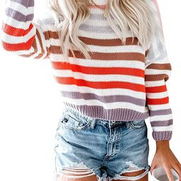 Women Lightweight Sweater Striped Color Block Oversized Casual Crew Neck Long Sleeve Knit Pullove... | Amazon (US)