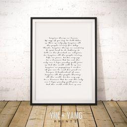 Song Lyrics Wall Art, Song Lyrics Print, Custom Quote Print, Personalized Gift, Wedding Vows Prin...   Etsy (US)