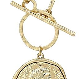Gold Silver Chunk Chain Necklace Medallion Coin Pendant Toggle Necklace | Amazon (US)