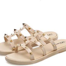 Joy & Lemon Womens Strappy Open Toe Mules Rivets Studs Sandal Flats Studded Flip Flops Slippers S... | Amazon (US)