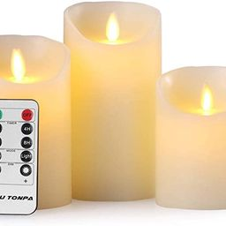 Aku Tonpa Flameless Candles Battery Operated Pillar Real Wax Flickering Moving Wick Electric LED ... | Amazon (US)