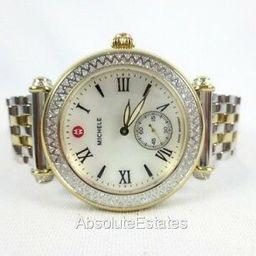 NEW Michele Two Tone Gold Silver Diamond Caber Ladies Watch MWW16A000066 NIB Box   eBay US