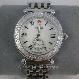 NEW Michele Silver Diamond Caber Ladies Watch MWW16A000001 Box NWT NIB   eBay US