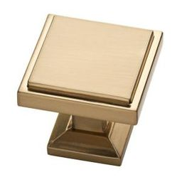Classic Square 1-1/9 in. (28 mm) Champagne Bronze Cabinet Knob | The Home Depot