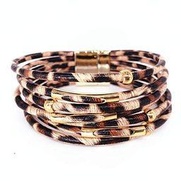 Women Leopard Metal Pipe Bracelet Multilayer Wide Leather Wrap Bangle Gift Bangle   Amazon (US)