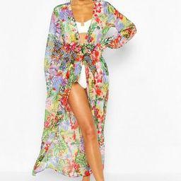 Beach Tropical Print Tie Front Long Sleeve Kimono | Boohoo.com (US & CA)