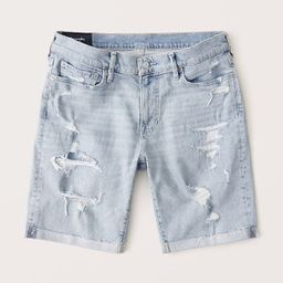Abercrombie & Fitch Mens Denim Shorts in Light Ripped Wash - Size 38   Abercrombie & Fitch US & UK