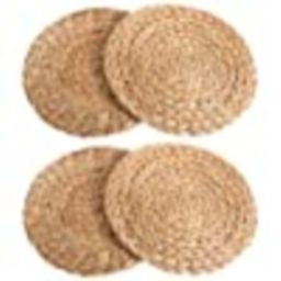 kilofly Natural Water Hyacinth Weave Placemat Round Braided Rattan Tablemats 11.8 inch x 4pc   Amazon (US)
