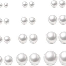 Pearl Earrings Surgical Steel Pearl Stud Earrings Set for Women Girls Faux Pearl Earrings Pack (3... | Amazon (US)