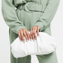 ASOS DESIGN oversized ruched clutch bag in white | ASOS US