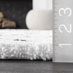 White Double Diamond Lattice Shag Area Rug   Rugs USA
