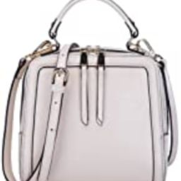 BOYATU Womens Leather Handbag Mini Square Shoulder Satchel Purse Crossbody Bag Off White   Amazon (US)