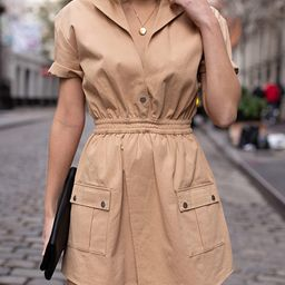 Women's Golden Sand Short-Sleeve Asymmetric Front Utility Dress by @laurie_ferraro   Amazon (US)