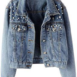 Kedera Women Oversized Denim Jacket Pearls Beading Jeans Coat 2XL | Amazon (US)