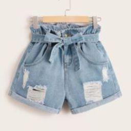 Plus Belt Paper bag Waist Ripped Roll Hem Denim Shorts | SHEIN