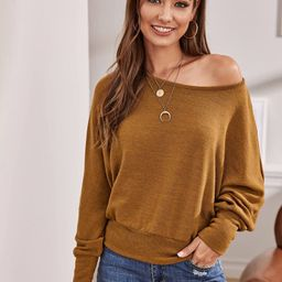 Solid Batwing Sleeve Sweater | SHEIN