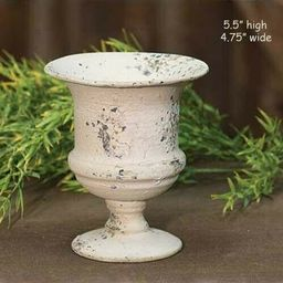 """Chippy Metal Urn Planter CREAM - Shabby Chic / French Country --- 5.5"""" Tall for sale online 