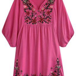 futurino Women's Bohemian Embroidery Floral Tunic Shift Blouse Flowy Mini Dress | Amazon (US)