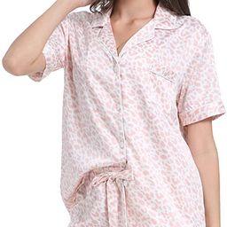 Serenedelicacy Women's Silky Satin Pajamas Short Sleeve PJ Set Sleepwear Loungewear | Amazon (US)