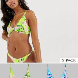 ASOS DESIGN multi pack twist front crop bikini top in lilac and pink neon leaf print | ASOS US