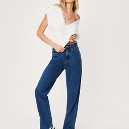 High-Waisted Straight Leg Denim Jeans with Belt Loops | NastyGal (US & CA)