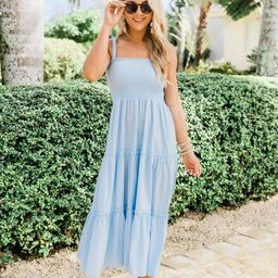 For Your Heart Only Light Blue Midi Dress | The Pink Lily Boutique