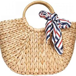 Straw Bags for Women,Hand-woven Straw Large Bag Round Handle Ring Tote Retro Summer Beach Rattan ... | Amazon (US)