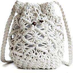 Womens Drawstring Crossbody Bag Beach Handwoven Purse Small Straw bucket bag retro woven hollow s...   Amazon (US)