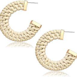MOLOCH Rattan Earrings for Women Handmade Straw Wicker Braid Hoop Earrings Lightweight Geometric ... | Amazon (US)