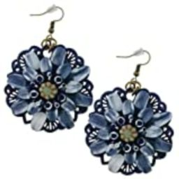 Susie's Gift Shop Flower Navy Blue Earrings | Extremely Light Weight Metal 2-inch Woman's Hand Made  | Amazon (US)