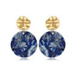 Acrylic Double Round Stud Earrings Disc Drop Tortoise Earrings 18k Gold Plated Stud Earrings Stateme | Amazon (US)