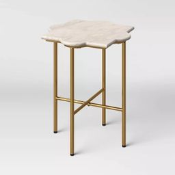 Amaranthus Curved White Marble Top End Table with Brass Base Natural - Opalhouse™   Target