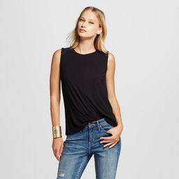 Women's Faux Suede Shoulder Tank Top Black XS - Mossimo , Size: XS | Target