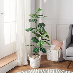 4' Faux Fiddle Leaf Tree in Starter Pot by Valerie   QVC