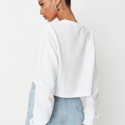 White Long Sleeve Cropped Sweatshirt | Missguided (US & CA)