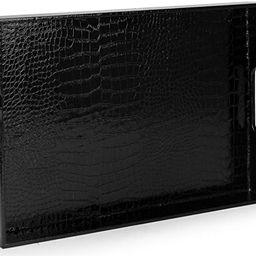 "Home Redefined Beautiful Modern Elegant Black 18""x12"" Rectangle Glossy Alligator Croc Decorative ... | Amazon (US)"