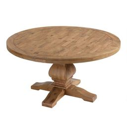 Round Gray Pine Wood Lisette Dining Table | World Market